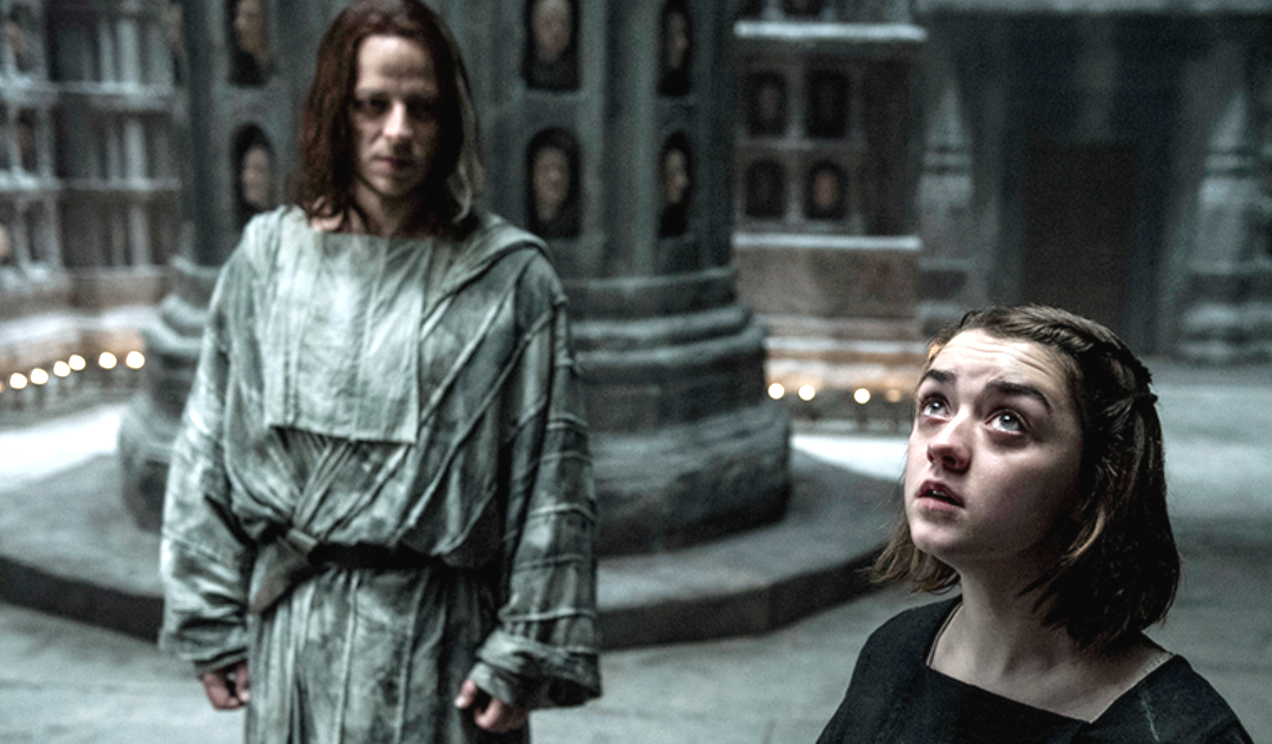 Game Of Thrones (2011-) Tom Wlaschiha (Jagen H'gher) & Maisie Williams (Arya Stark)